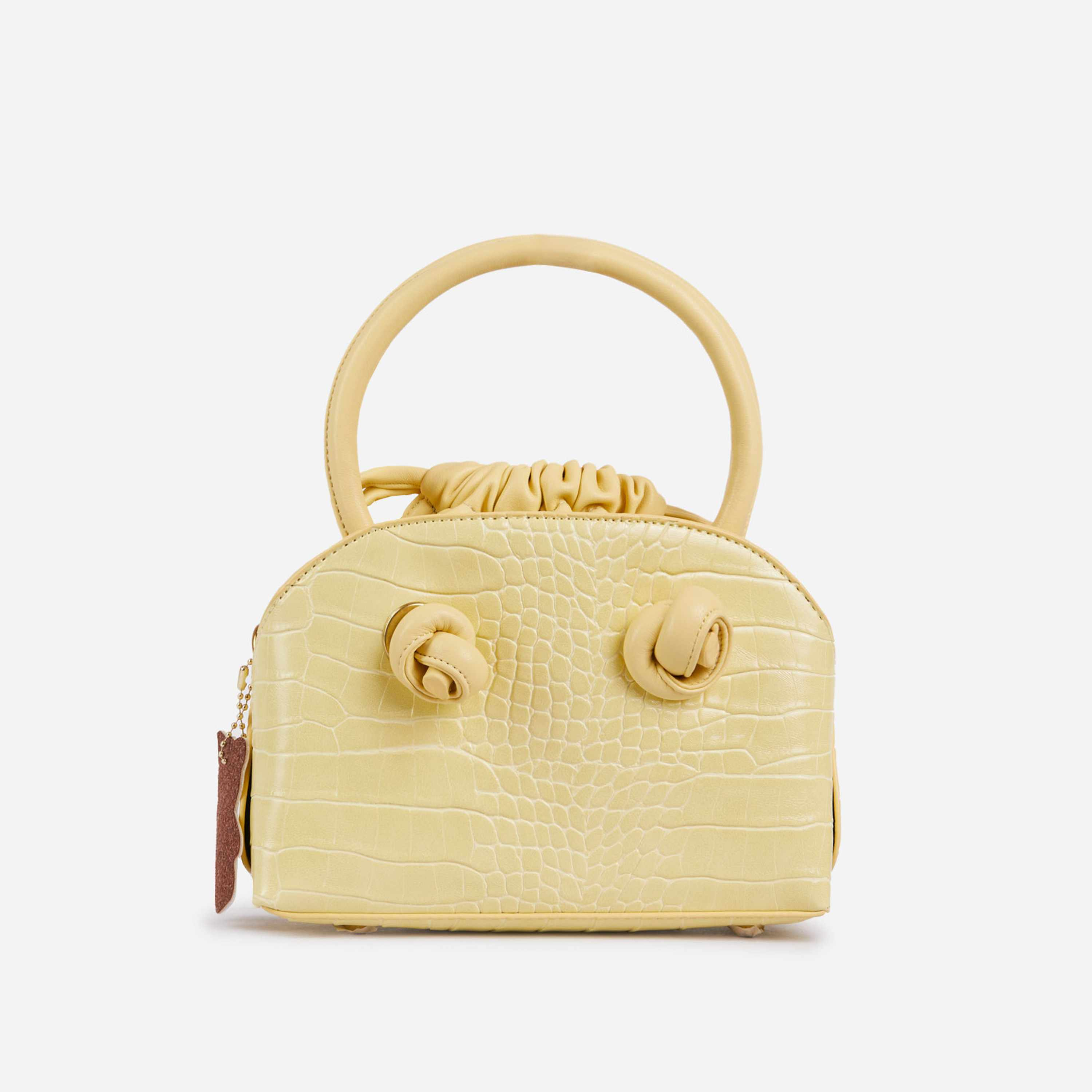 Faye Drawstring Detail Bowling Bag In Yellow Faux Leather