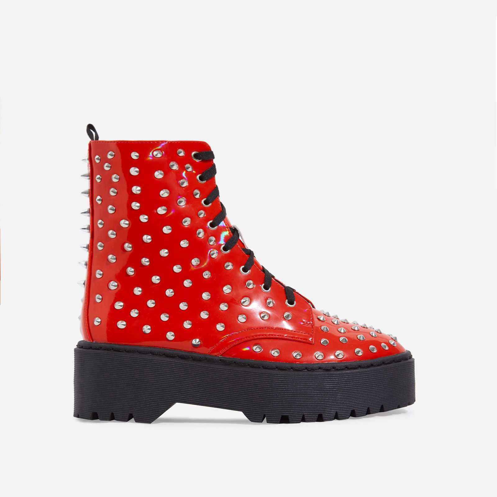 Pixie Studded Detail Lace Up Biker Boot In Red Patent
