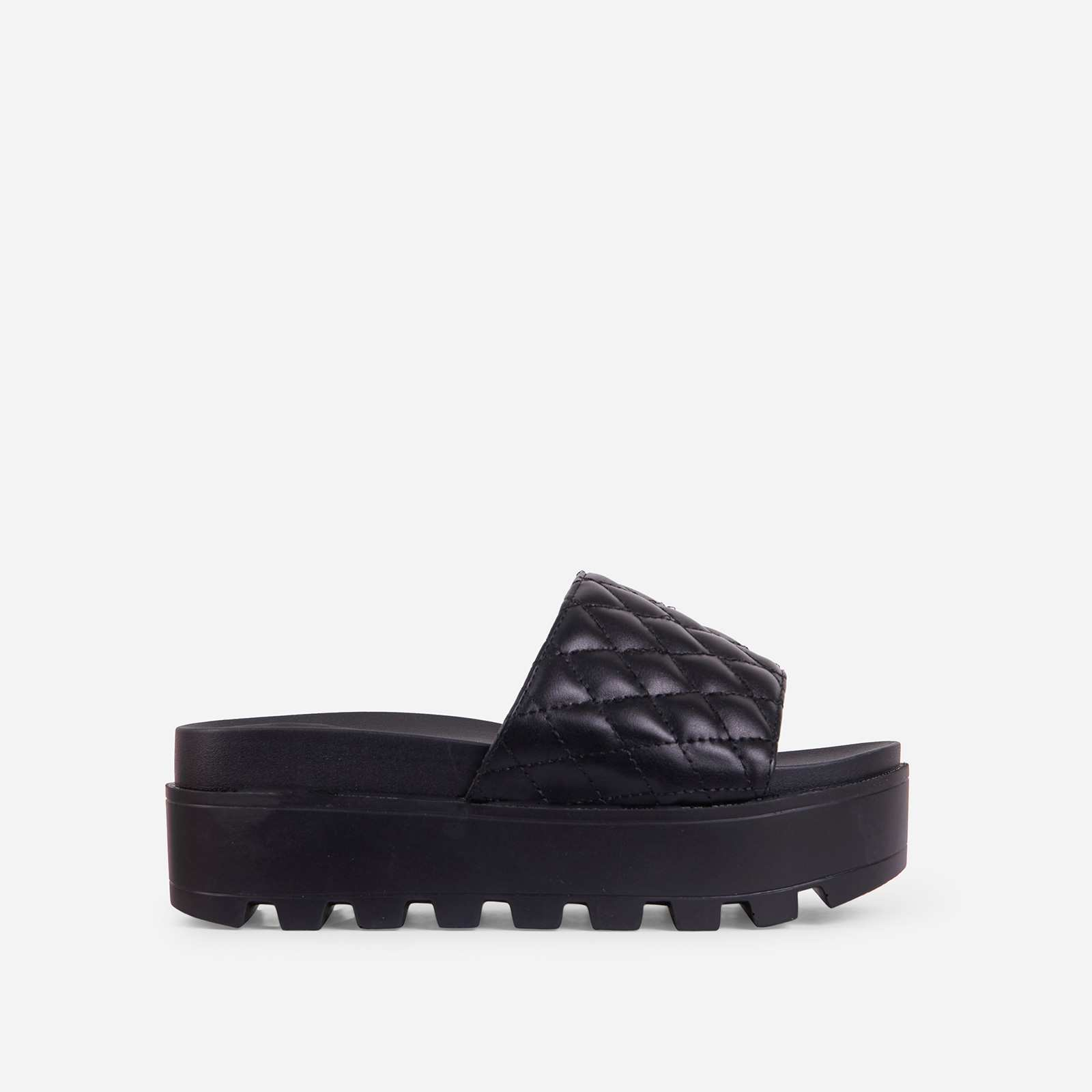 Five-Star Quilted Chunky Sole Platform Flat Slider Sandal In Black Faux Leather