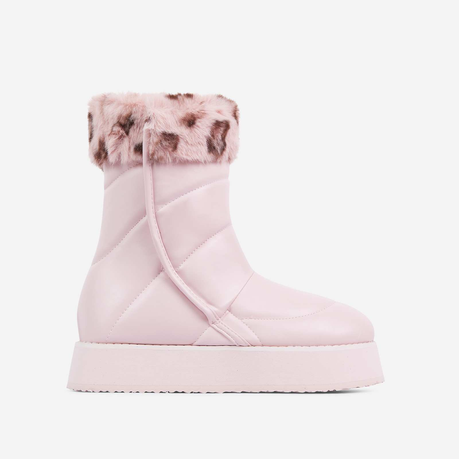 Maison Faux Fur Detail Quilted Ankle Boot In Blush Pink Faux Leather