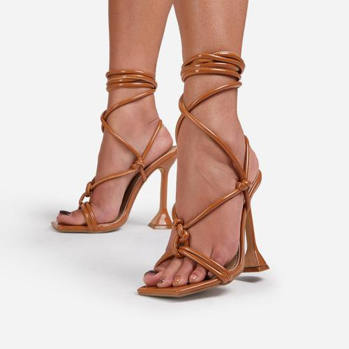 Fiat Lace Up Square Toe Sculptured Heel In Tan Brown Patent
