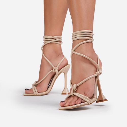 Fiat Lace Up Square Toe Sculptured Heel In Cream Patent