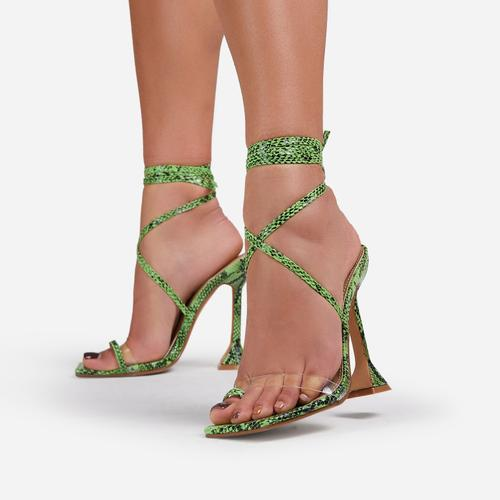 Midsummer Lace Up Square Toe Sculptured Heel In Green Snake Print Faux Leather
