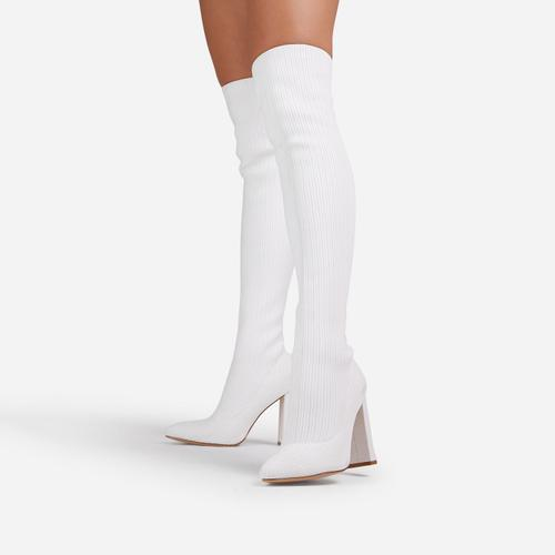 Only-Fans Block Heel Over The Knee Thigh High Long Sock Boot In White Ribbed Knit
