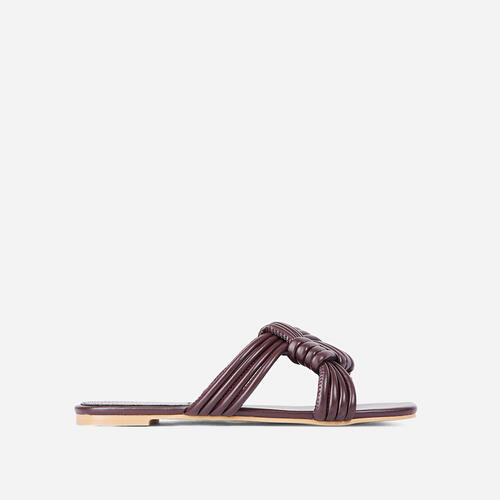 Sia Criss Cross Knotted Strap Flat Slider Sandal In Dark Brown Faux Leather