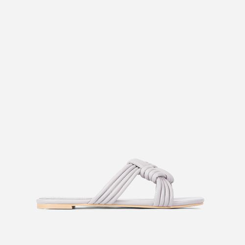 Sia Criss Cross Knotted Strap Flat Slider Sandal In Grey Faux Leather