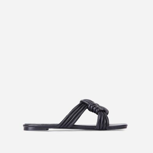 Sia Criss Cross Knotted Strap Flat Slider Sandal In Black Faux Leather