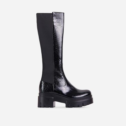 Pulse Chunky Sole Knee High Long Biker Boot in Black Croc Print Faux Leather