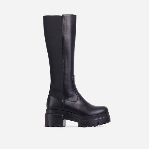 Pulse Chunky Sole Knee High Long Biker Boot in Black Faux Leather