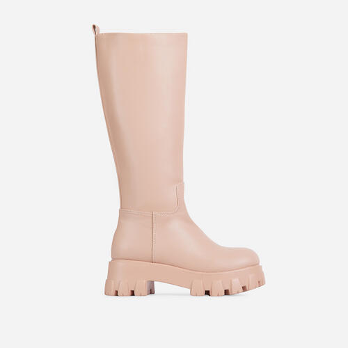 Drizzle Chunky Sole Knee High Long Wellington Boot In Nude Faux Leather