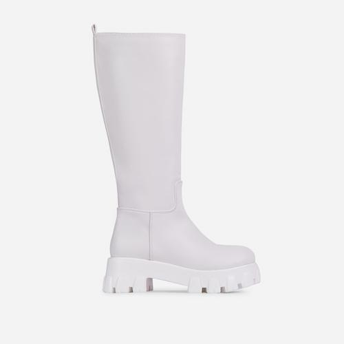 Drizzle Chunky Sole Knee High Long Wellington Boot In White Faux Leather