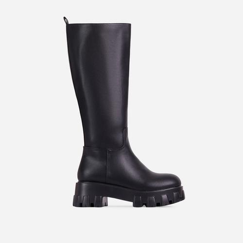 Drizzle Chunky Sole Knee High Long Wellington Boot In Black Faux Leather