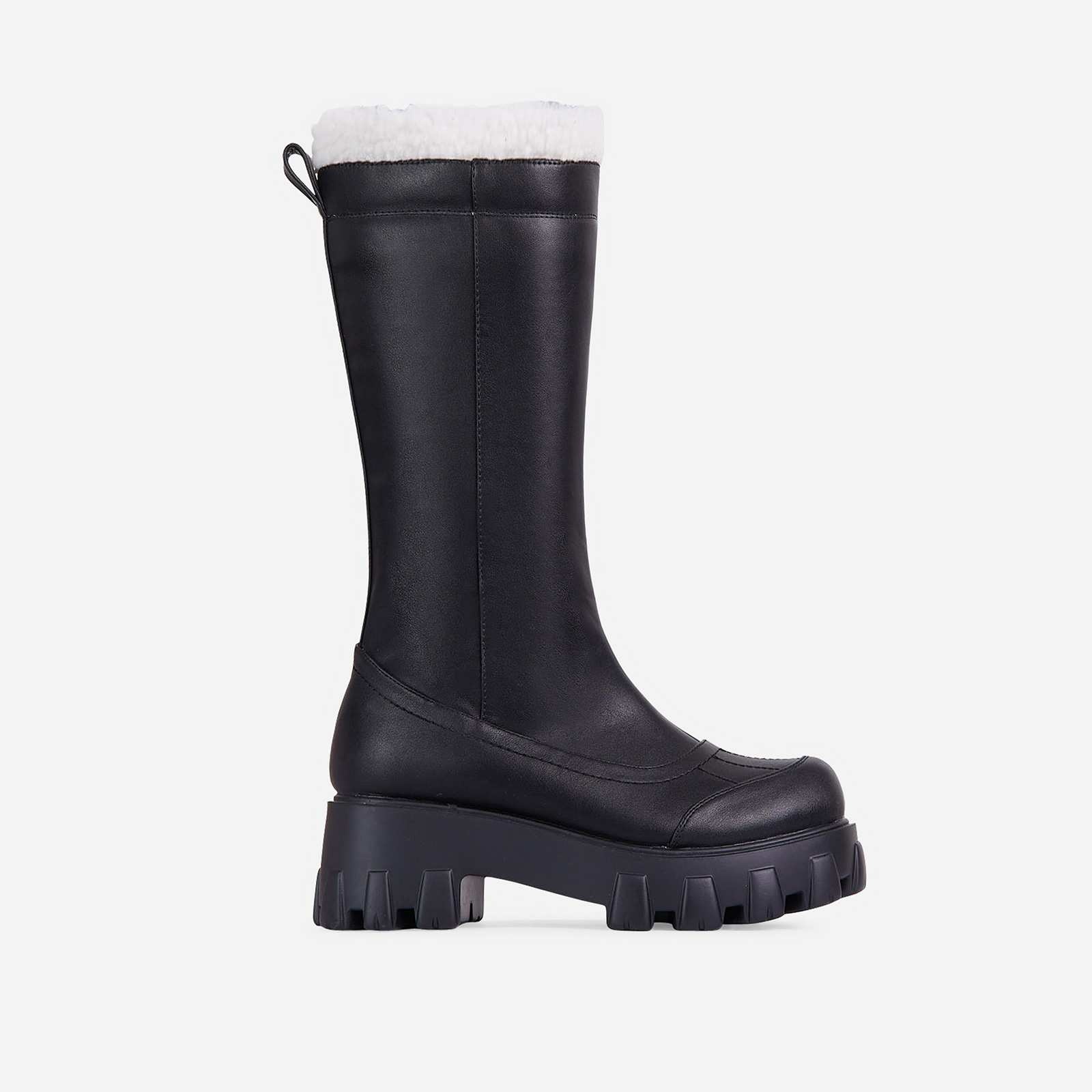Run-The-World Faux Fur Trim Chunky Sole Knee High Long Wellington Boot In Black Faux Leather