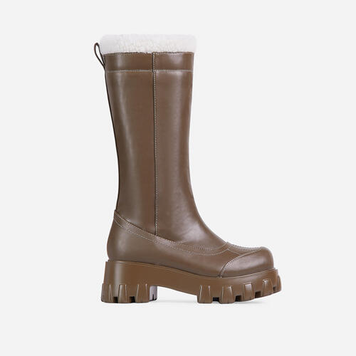 Run-The-World Faux Fur Trim Chunky Sole Knee High Long Wellington Boot In Khaki Green Faux Leather