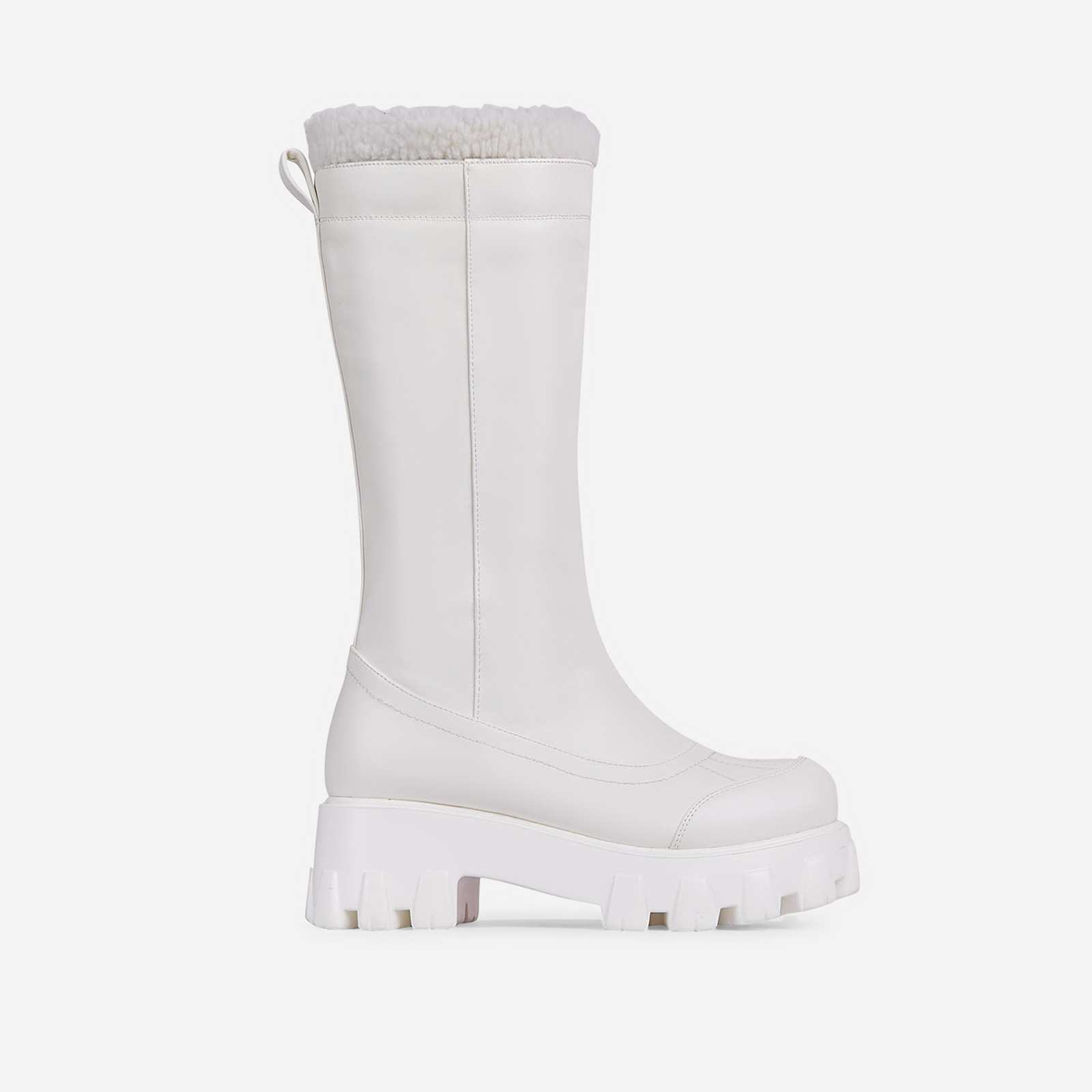 Run-The-World Faux Fur Trim Chunky Sole Knee High Long Wellington Boot In White Faux Leather