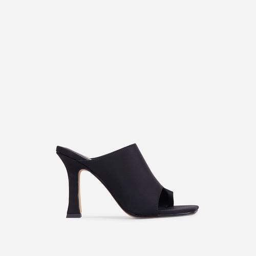 Girl Crush Toe Loop Square Toe Heel Mule In Black Lycra