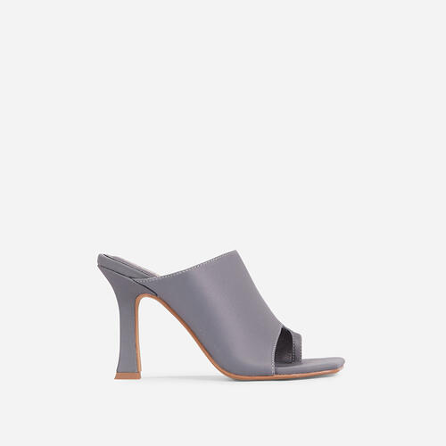 Girl Crush Toe Loop Square Toe Heel Mule In Grey Lycra