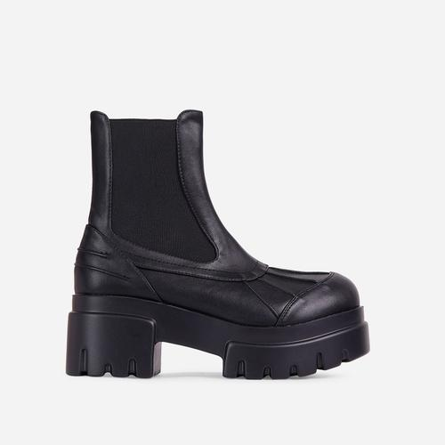 Raven Chunky Sole Ankle Biker Boot In Black Faux Leather