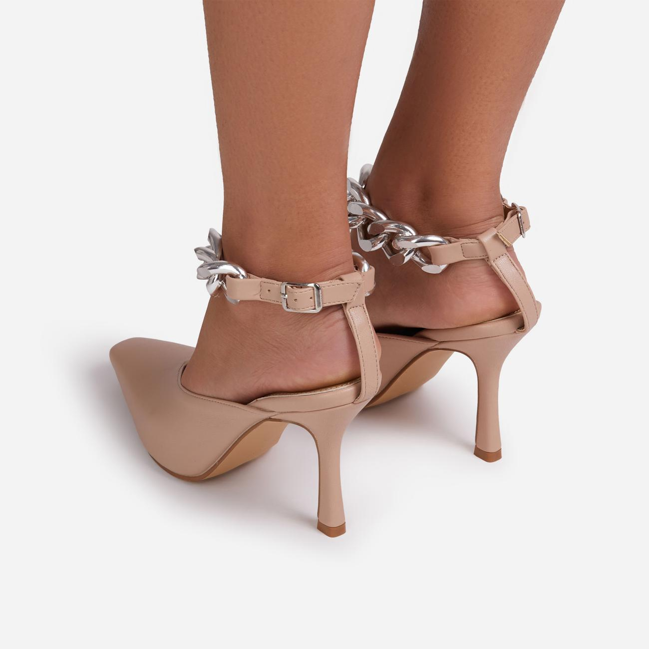 Antidote Chain Detail Ankle Strap Pointed Toe Heel In Nude