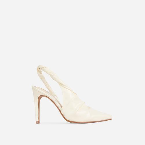 Potion Twisted Detail Closed Pointed Toe Court Heel In Nude Faux Leather