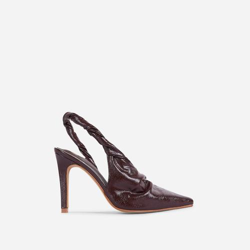Potion Twisted Detail Closed Pointed Toe Court Heel In Dark Brown Faux Leather