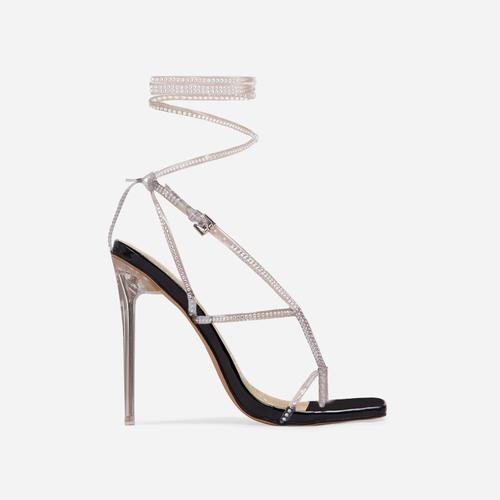 True-Drip Diamante Detail Lace Up Square Toe Clear Perspex Heel In Black Patent