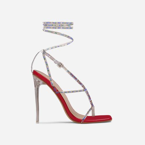 True-Drip Diamante Detail Lace Up Square Toe Clear Perspex Heel In Red Patent