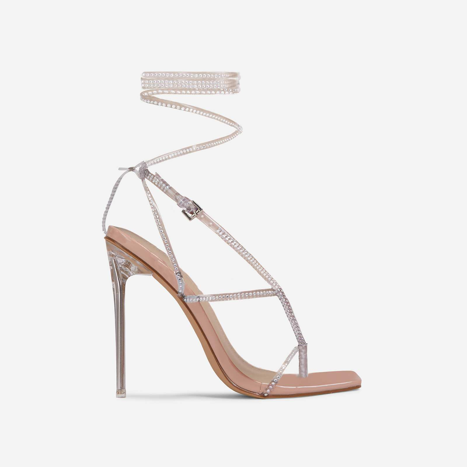 True-Drip Diamante Detail Lace Up Square Toe Clear Perspex Heel In Nude Patent