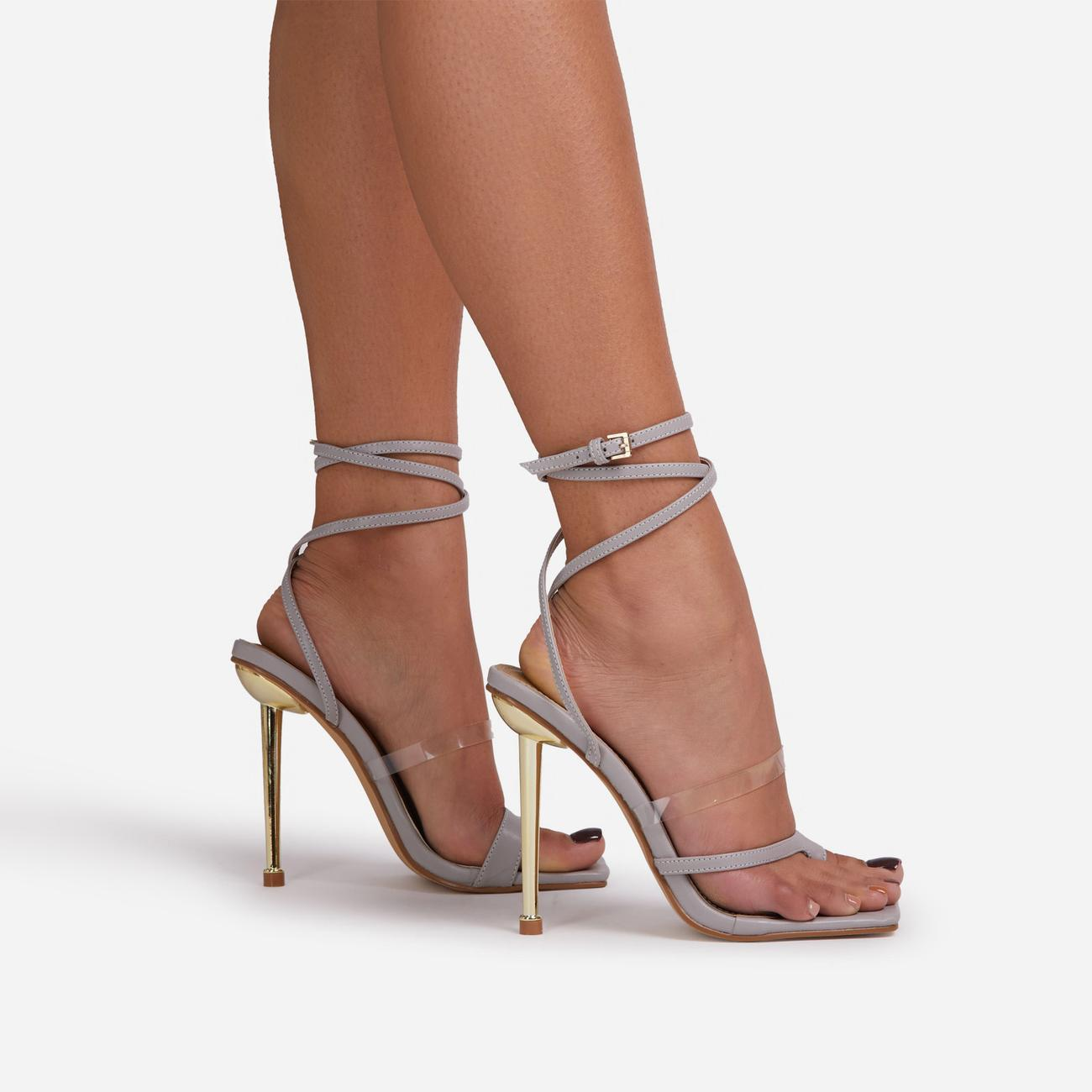 Blaze Lace Up Clear Perspex Square Toe Metallic Heel Grey Faux Leather Image 2