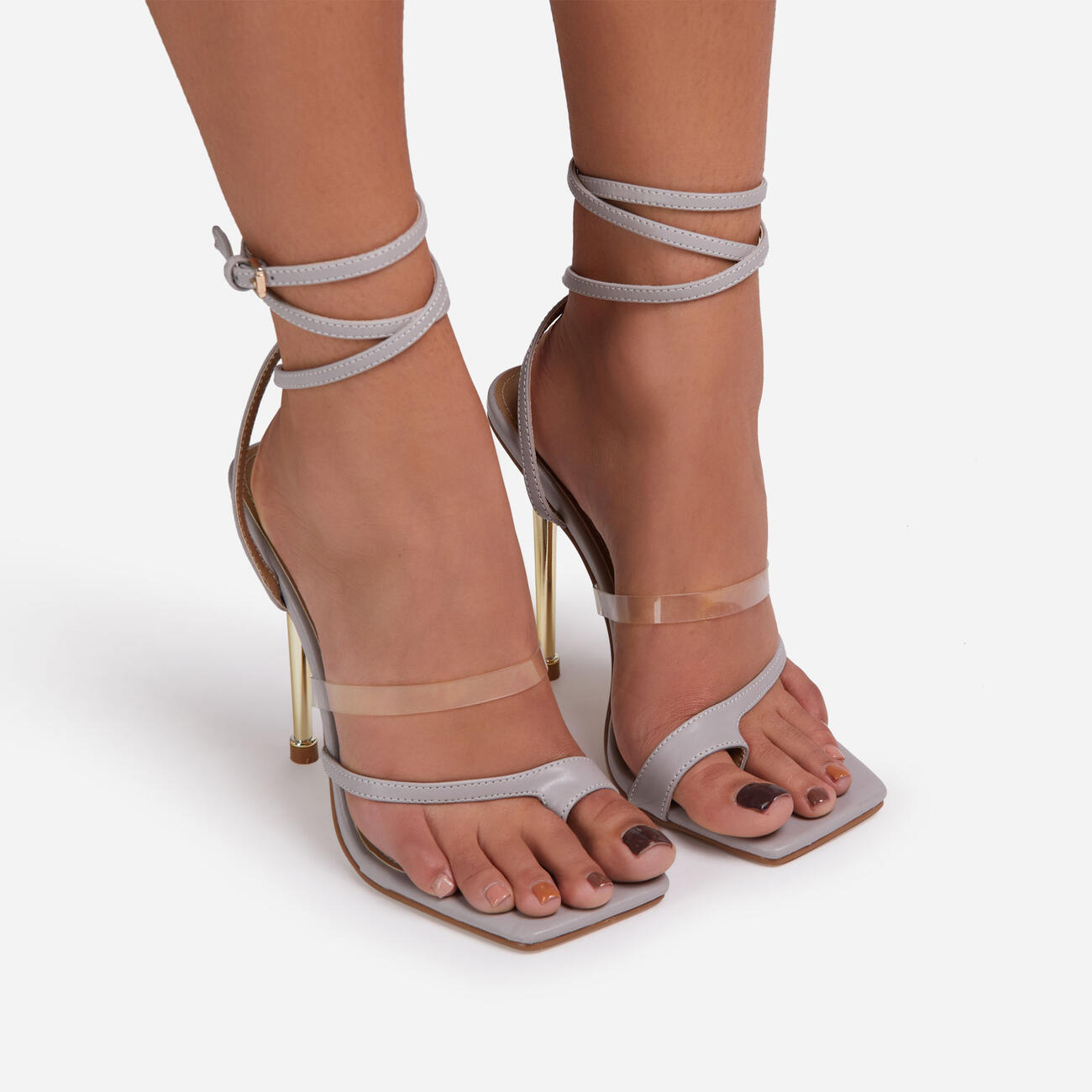 Blaze Lace Up Clear Perspex Square Toe Metallic Heel Grey Faux Leather Image 3