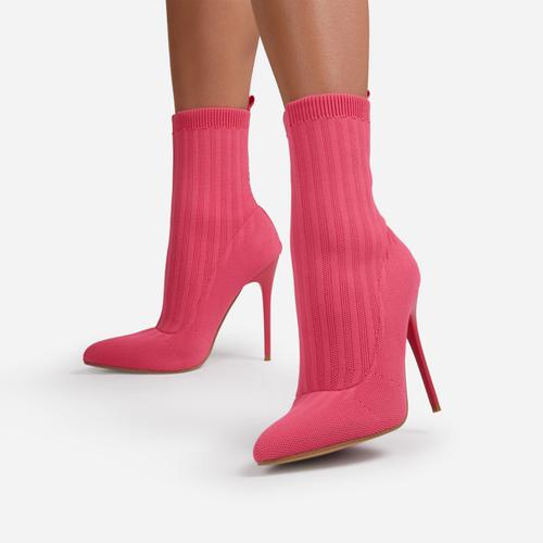 Ricochet Pointed Toe Ankle Sock Boot In Pink Ribbed Knit