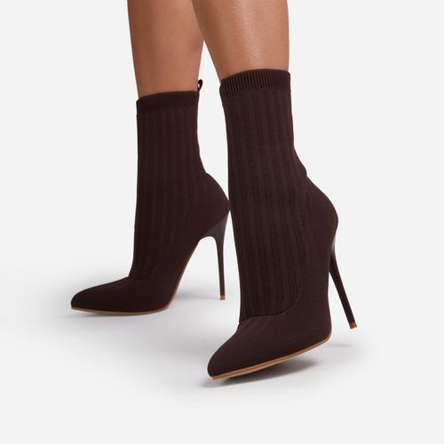 Ricochet Pointed Toe Ankle Sock Boot In Dark Brown Ribbed Knit