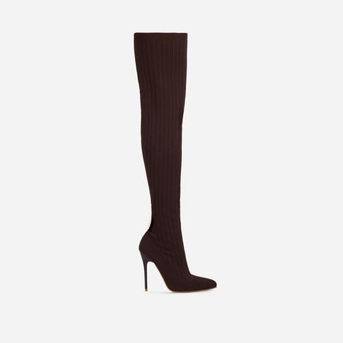 Alberta Pointed Toe Over The Knee Thigh High Long Sock Boot In Dark Brown Ribbed Knit