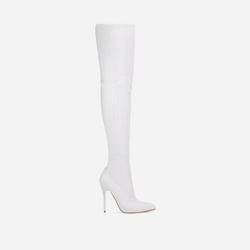Alberta Pointed Toe Over The Knee Thigh High Long Sock Boot In White Ribbed Knit