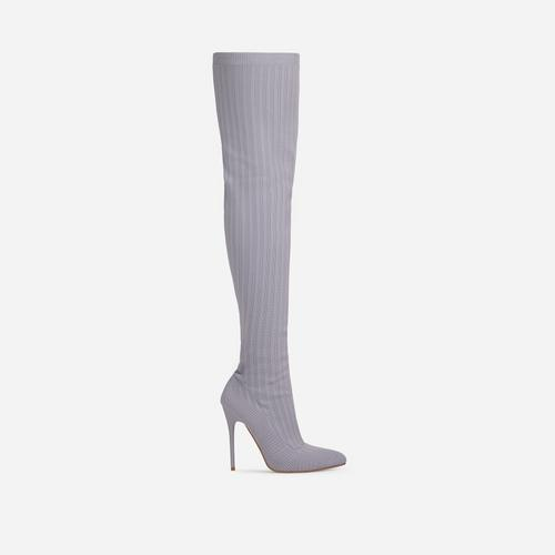 Alberta Pointed Toe Over The Knee Thigh High Long Sock Boot In Grey Ribbed Knit