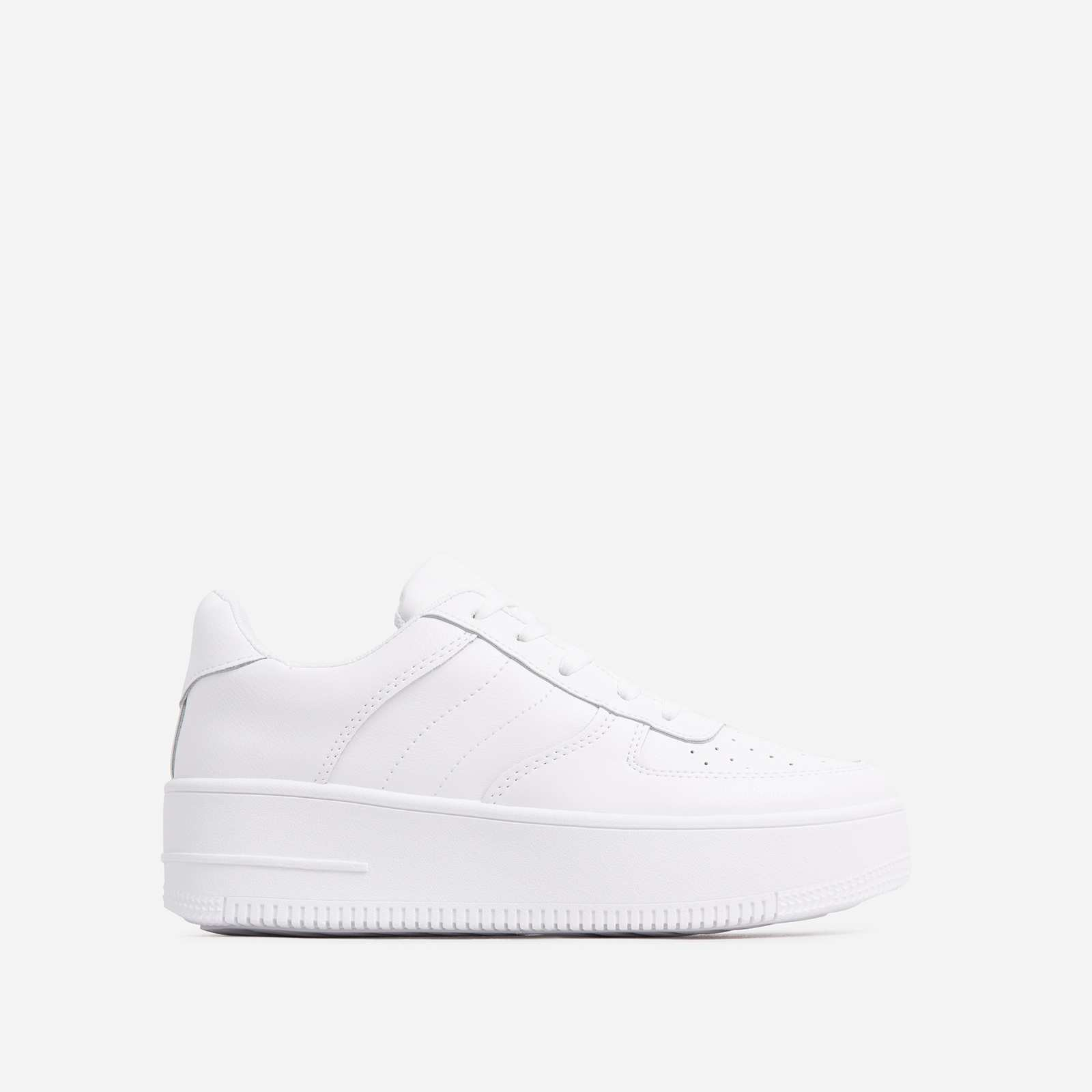 Force Lace Up trainer In White Faux Leather