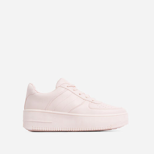 Force Lace Up trainer In Pink Faux Leather