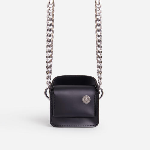 Tonie Chunky Chain Mini Bag In Black Faux Leather