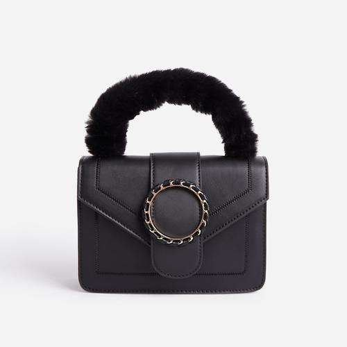 Pumpkin Faux Fur Handle Grab Bag In Black Faux Leather