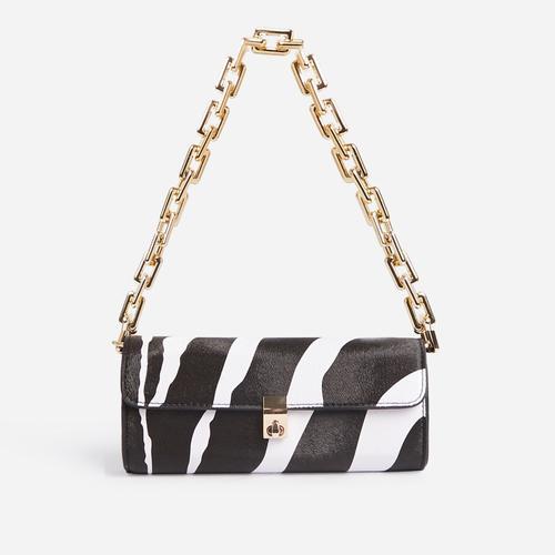 Rosa Chain Strap Baguette Shoulder Bag In Zebra Print Faux Leather