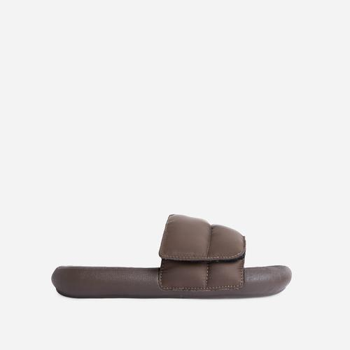 Pattie Padded Flat Slide Sandal In Khaki