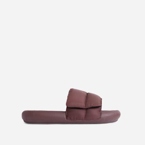 Pattie Padded Flat Slide Sandal In Brown