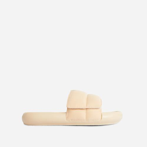 Pattie Padded Flat Slide Sandal In Nude