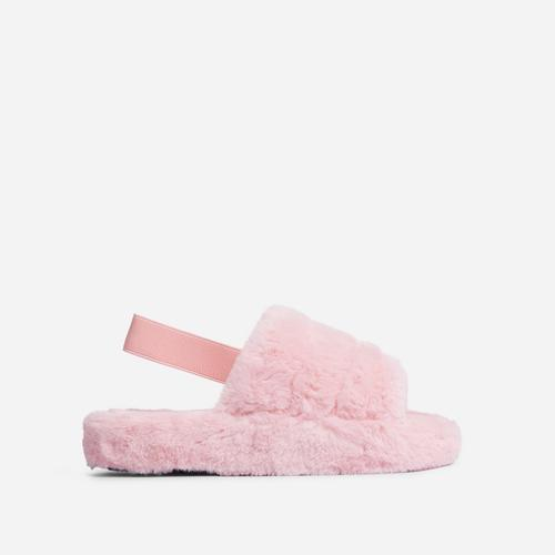 Boo Fluffy Stripe Slipper In Light Pink Faux Fur