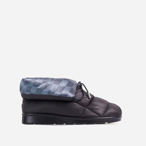 Puffy Check Detail Quilted Ankle Boot In Black Nylon