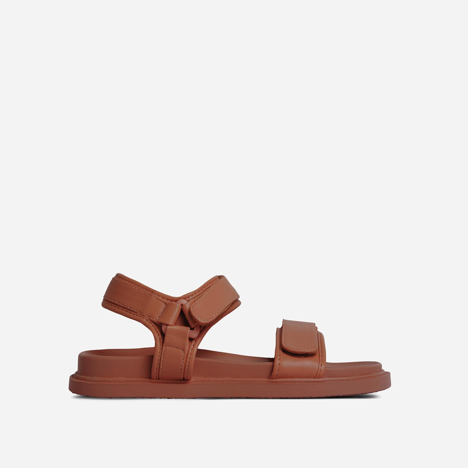 Olita Double Strap Flat Dad Sandal In Tan Brown Faux Leather, Brown