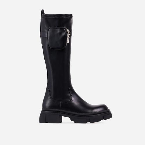 Blaze Pocked Detail Chunky Sole Knee High Long Biker Boot In Black Faux Leather