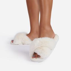 Indulge Fluffy Cross Over Slipper In Nude Faux Fur