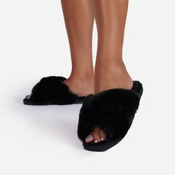 Indulge Fluffy Cross Over Slipper In Black Faux Fur