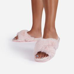 Indulge Fluffy Cross Over Slipper In Pink Faux Fur